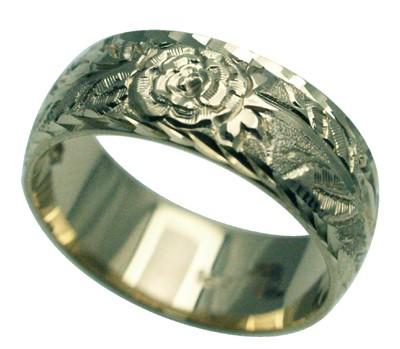ハワイアンジュエリー リング 指輪 オーダーメイド お手軽な1.25mm厚 幅8mm 14K ゴールド ホワイトゴールド チューブローズバレルリング ハワイ製 手彫りリング メンズ レディース 結婚指輪 マリッジリング ウェディングリング 2号-28号