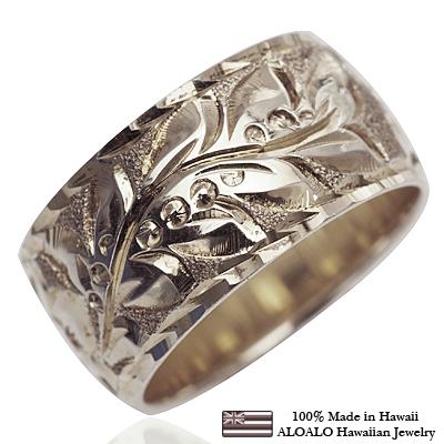 【刻印無料 ギフトラッピング無料】上品に1.75mm厚 14金ホワイトゴールド本格オーダーリング ハワイアンジュエリー リング 指輪 オーダーメイド しっかりした1.75mm厚 幅10mm 14K ゴールド ホワイトゴールド バレルリング ハワイ製 手彫りリング メンズ レディース 結婚指輪 マリッジリング ウェディングリング 2号-28号
