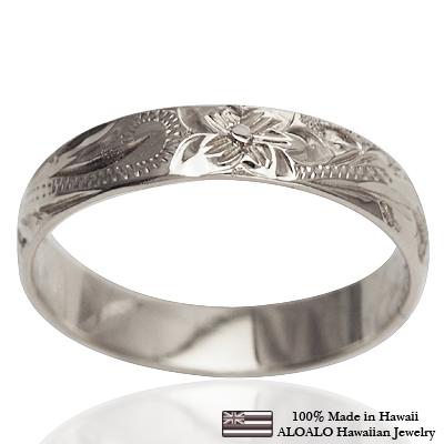 【刻印無料 ギフトラッピング無料】上品に1.75mm厚 14金ホワイトゴールド本格オーダーリング ハワイアンジュエリー リング 指輪 オーダーメイド しっかりした1.75mm厚 幅4mm 14K ゴールド ホワイトゴールド バレルリング ハワイ製 手彫りリング メンズ レディース 結婚指輪 マリッジリング ウェディングリング 2号-28号