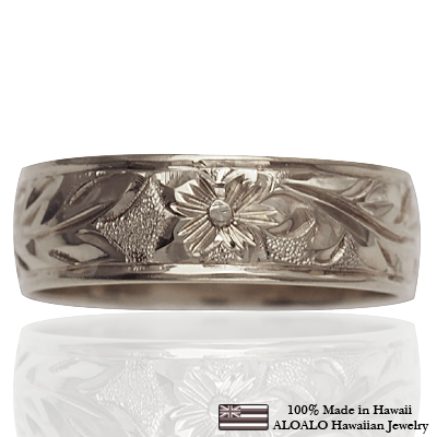 【刻印無料 ギフトラッピング無料】上品に1.75mm厚 14金ホワイトゴールド本格オーダーリング ハワイアンジュエリー リング 指輪 オーダーメイド しっかりした1.75mm厚 幅6mm 14K ゴールド ホワイトゴールド バレルリング ハワイ製 手彫りリング メンズ レディース 結婚指輪 マリッジリング ウェディングリング 2号-28号
