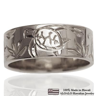 ハワイアンジュエリー リング 指輪 オーダーメイド お手軽な1.0mm厚 幅8mm 14K ゴールド ホワイトゴールド フラットリング ハワイ製 手彫りリング メンズ レディース 結婚指輪 マリッジリング ウェディングリング 2号-28号