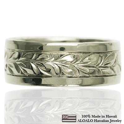 ハワイアンジュエリー リング 指輪 オーダーメイド 1.25mm厚 幅8mm 14K ゴールド ホワイトゴールド スペシャルプレーンフラットリング ハワイ製 手彫りリング メンズ レディース 結婚指輪 マリッジリング ウェディングリング 2号-28号
