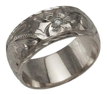ハワイアンジュエリー リング 指輪 オーダーメイド お手軽な1.25mm厚 幅8mm 14K ゴールド ホワイトゴールド ダイヤモンドバレルリング ハワイ製 手彫りリング メンズ レディース 結婚指輪 マリッジリング ウェディングリング 2号-28号