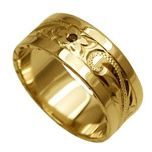 ハワイアンジュエリー リング 指輪 オーダーメイド 1.25mm厚 幅8mm 14K ゴールド イエローゴールド ブラックダイヤ入り スペシャルプレーンリング ハワイ製 手彫りリング メンズ レディース 結婚指輪 マリッジリング ウェディングリング 2号-28号