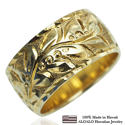 【刻印無料 ギフトラッピング無料】上品に1.75mm厚 14金イエローゴールド本格オーダーリング ハワイアンジュエリー リング 指輪 オーダーメイド しっかりした1.75mm厚 幅10mm 14K ゴールド イエローゴールド バレルリング ハワイ製 手彫りリング メンズ レディース 結婚指輪 マリッジリング ウェディングリング 2号-28号