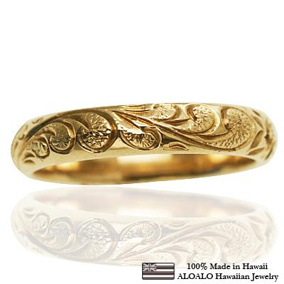 ハワイアンジュエリー リング 指輪 オーダーメイド お手軽な1.25mm厚 幅4mm 14K ゴールド イエローゴールド バレルリング ハワイ製 手彫りリング メンズ レディース 結婚指輪 マリッジリング ウェディングリング 2号-28号