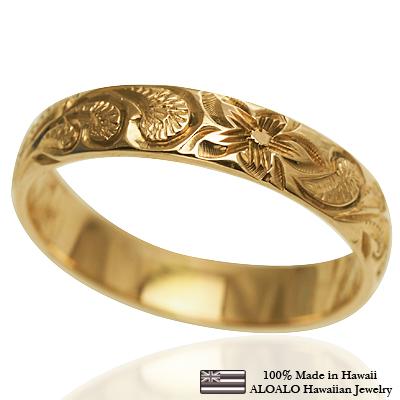 【刻印無料 ギフトラッピング無料】上品に1.75mm厚 14金イエローゴールド本格オーダーリング ハワイアンジュエリー リング 指輪 オーダーメイド しっかりした1.75mm厚 幅4mm 14K ゴールド イエローゴールド バレルリング ハワイ製 手彫りリング メンズ レディース 結婚指輪 マリッジリング ウェディングリング 2号-28号