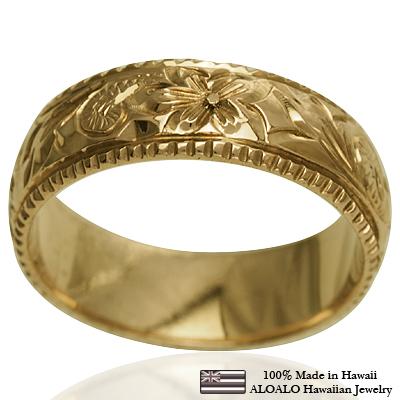 ハワイアンジュエリー リング 指輪 オーダーメイド 重厚な立体感2mm厚 幅6mm 14K ゴールド イエローゴールド バレルリング ハワイ製 手彫りリング メンズ レディース 結婚指輪 マリッジリング ウェディングリング 2号-28号
