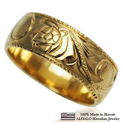 【刻印無料 ギフトラッピング無料】上品に1.75mm厚 14金イエローゴールド本格オーダーリング ハワイアンジュエリー リング 指輪 オーダーメイド しっかりした1.75mm厚 幅8mm 14K ゴールド イエローゴールド バレルリング ハワイ製 手彫りリング メンズ レディース 結婚指輪 マリッジリング ウェディングリング 2号-28号