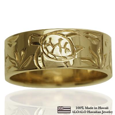 ハワイアンジュエリー リング 指輪 オーダーメイド しっかりした1.5mm厚 幅8mm 14K ゴールド イエローゴールド フラットリング ハワイ製 手彫りリング メンズ レディース 結婚指輪 マリッジリング ウェディングリング 2号-28号