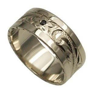 ハワイアンジュエリー リング 指輪 オーダーメイド 1.75mm厚 幅8mm スターリングシルバー925 フラット ブラックダイヤ入り スペシャルプレーンリング ハワイ製 手彫りリング メンズ レディース