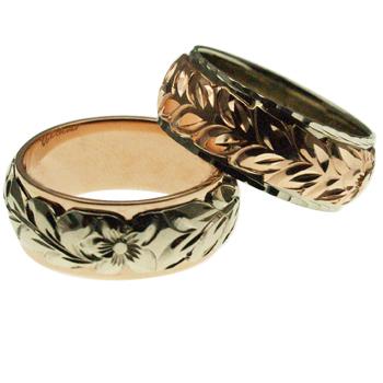 ハワイアンジュエリー リング 指輪 オーダーメイド 14金2トーン 8mmリング お得なペアリング特価セット! ハワイ製 手彫りリング メンズ レディース 結婚指輪 マリッジリング ウェディングリング 2号-28号