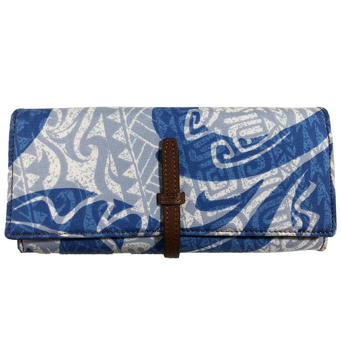 ハワイアン 財布 パラダイス アコーディオンロングウォレット 長財布モデル ロングセラーの形状 カードが最も沢山入る仕様 ハワイアンファブリック 革のデザイン