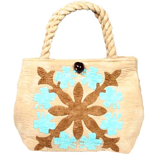 ハワイアンキルト バッグ サザンフォレストのむら染め本格ハワイアンキルト ミニサイズ セカンドハワイアンキルトバッグ ブルーブラウンベージュ