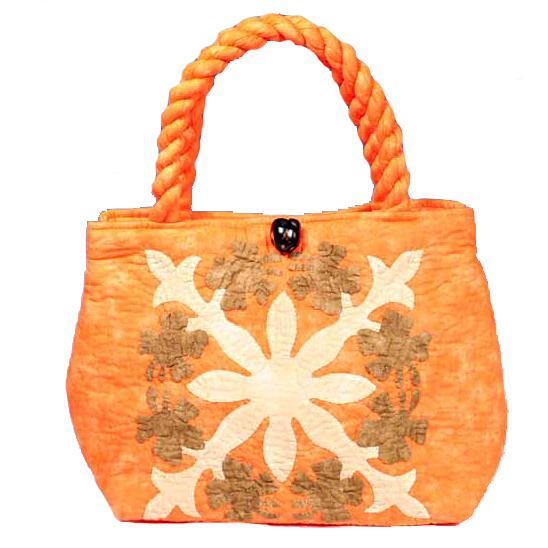 ハワイアンキルト バッグ サザンフォレストのむら染め本格ハワイアンキルト ミニサイズ セカンドハワイアンキルトバッグ オレンジベージュブラウン