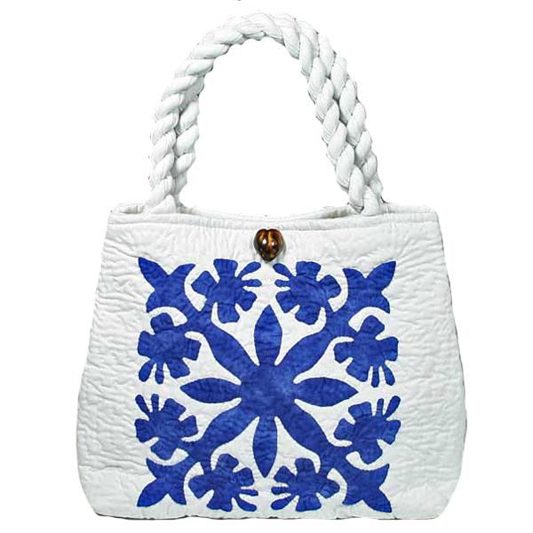 ハワイアンキルト バッグ サザンフォレストのむら染め本格ハワイアンキルト ミニサイズ セカンドハワイアンキルトバッグ ホワイトブルー
