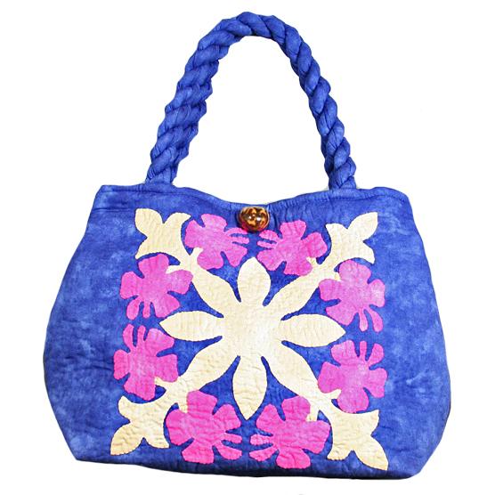 ハワイアンキルト バッグ サザンフォレストのむら染め本格ハワイアンキルト ミニサイズ セカンドハワイアンキルトバッグ ブルーピンク
