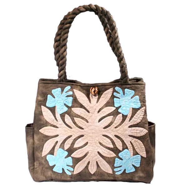 最高品質のハワイアンキルトバッグです ハワイアンキルト バッグ 使いやすいスタンダードキルトバッグ 新作通販 未使用品 サザンフォレストのむら染め本格ハワイアンキルト