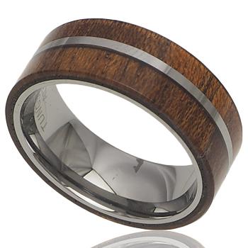 ハワイアンジュエリー リング コアウッドリング メンズ レディース 指輪 刻印 2ライン タングステン 11号-21号