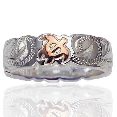 店舗 ハワイアンジュエリー リング シルバーリング メンズ レディース 指輪 シルバー 新品未使用正規品 ピンクホヌスクロールリング 7号-19号 Silver925 刻印