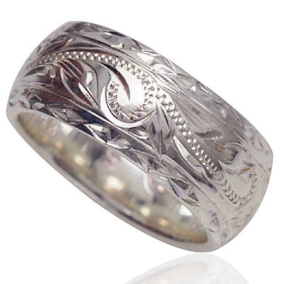ハワイアンジュエリー リング シルバーリング ダイヤモンドカットヘビースクロールリング メンズ レディース 指輪 刻印 シルバー 8mm スクロール プルメリア 4号-24号