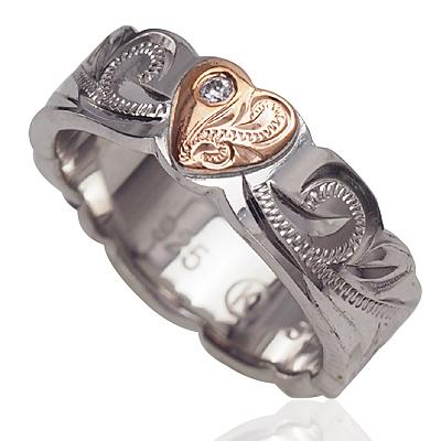 ハワイアンジュエリー リング シルバーリング レディース 指輪 ヘビースクロール ピンクゴールドハート 安値 シルバー 4号-18号 刻印 Silver925 出荷 ロジウム加工 ジルコニア