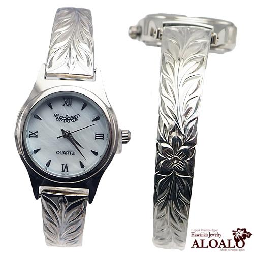 ハワイアンジュエリー バングル ウォッチ 腕時計 ハワイアンスクロール マイレリーフバングルウォッチ レディース シルバー プルメリア スクロール 6.5インチ 7インチ