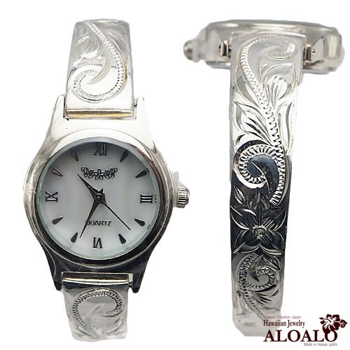 ハワイアンジュエリー バングル ウォッチ 腕時計 ハワイアンスクロール ウェーブバングルウォッチ レディース シルバー プルメリア スクロール 6.5インチ 7インチ