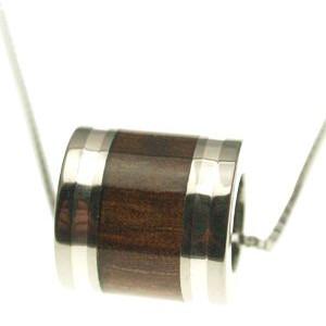 ハワイアンジュエリー ネックレス ペンダント シルバーライン チタニウム ハワイアン コアウッド バレルトップ Lサイズ メンズ レディース チタン ハワイアンコアウッド