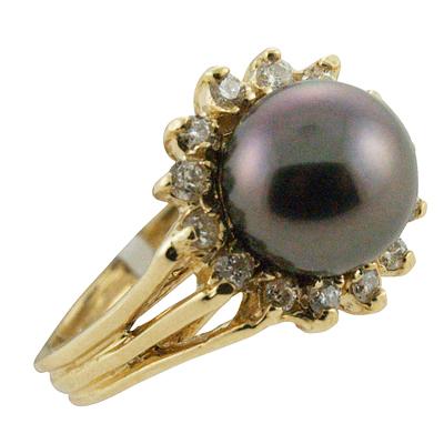 ハワイアンジュエリー リング 指輪 14K ゴールド タヒチアンパール 黒真珠 ランクAAA ダイヤモンド サークルブラックパールリング レディース ゴールド