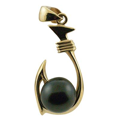 ハワイアンジュエリー ネックレス ペンダントトップ 14K ゴールド タヒチアンパール 黒真珠 ランクAAA フィッシュフックブラックパールトップ メンズ レディース ゴールド
