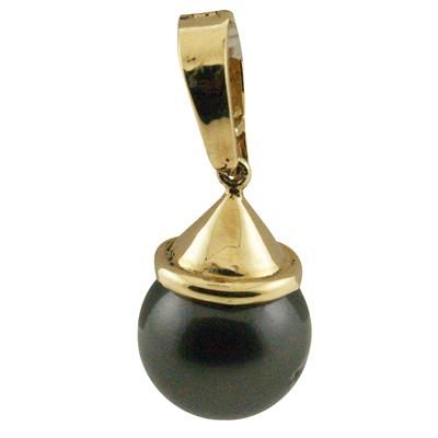 ハワイアンジュエリー ネックレス ペンダントトップ 14k ゴールド タヒチアンパール 黒真珠 ランクAAA シンプルスタイルブラックパールトップ メンズ レディース ゴールド