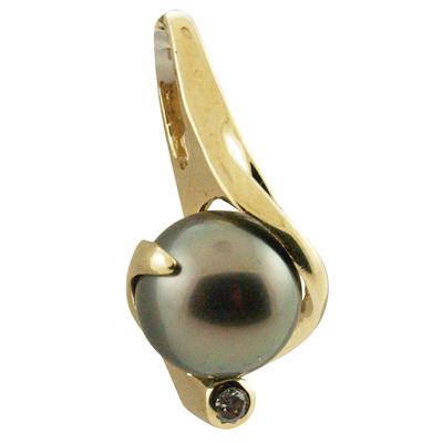 ハワイアンジュエリー ネックレス ペンダントトップ 14k ゴールドタヒチアンパール 黒真珠 ランクAAA 14kデザインブラックパールトップ メンズ レディース ゴールド