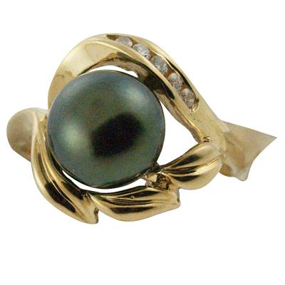 ハワイアンジュエリー リング 指輪 14K ゴールド タヒチアンパール 黒真珠 ランクAAA ダイヤモンドデザインブラックパールリング レディース ゴールド