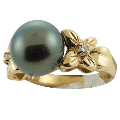ハワイアンジュエリー リング 指輪 14K ゴールド タヒチアンパール 黒真珠 ランクAAA 14kプルメリアダイヤモンドブラックパールリング レディース ゴールド