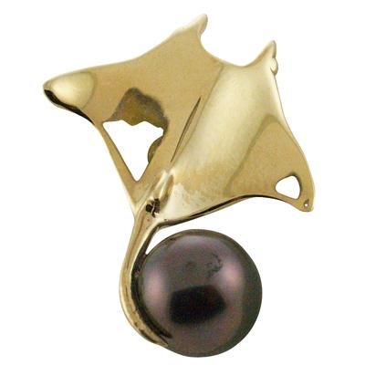 ハワイアンジュエリー ネックレス ペンダントトップ 14k ゴールド タヒチアンパール 黒真珠 ランクAAA マンタブラックパールトップ メンズ レディース ゴールド