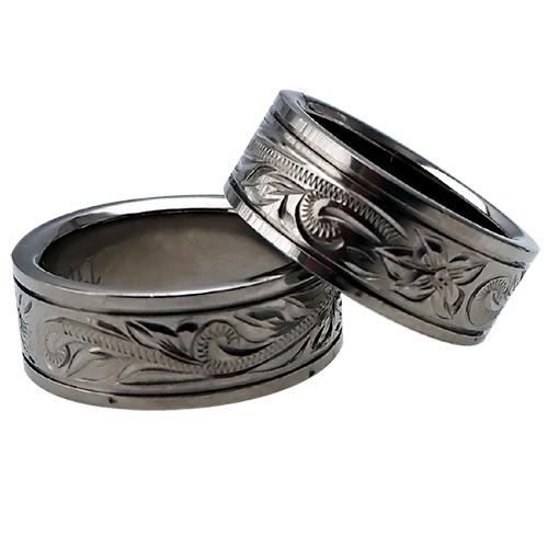 ハワイアンジュエリー リング ペアリング チタンリング スクロール メンズ レディース 指輪 刻印 8mm幅 フラット スムースエッジリング 11号-23号