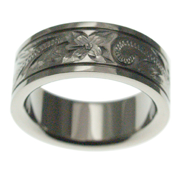 ハワイアンジュエリー リング チタンリング スクロール メンズ レディース 指輪 刻印 8mm幅 フラット スムースエッジリング 11号-23号