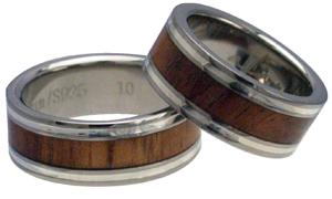 ハワイアンジュエリー リング ペアリング コアウッド チタンリング メンズ レディース 指輪 刻印 alamea 8mm シルバーライン ハワイアンコア 7号-23.5号
