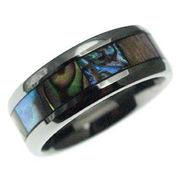 ハワイアンジュエリー リング タングステンリング インレイアバロンシェルリング 8mm幅 メンズ レディース 指輪 刻印 タングステン シェル 11号-21号