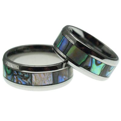ハワイアンジュエリー ペアリング タングステンリング アバロンシェルリング 8mm幅 メンズ レディース 指輪 刻印 タングステン アバロン シェル 9号-23.5号