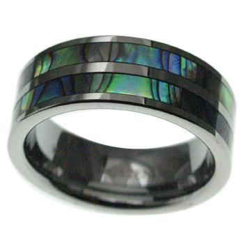 ハワイアンジュエリー リング タングステン 倉 2ライン アバロンシェルリング 8mm幅 メンズ 指輪 9号-23.5号 レディース ディスカウント 刻印 シェル アバロン
