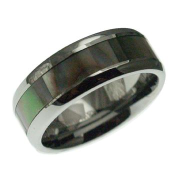 ハワイアンジュエリー リング タングステンリング インレイ マザーオブパール シェル リング 8mm幅 メンズ レディース 指輪 刻印 タングステン シェル 9号-23.5号