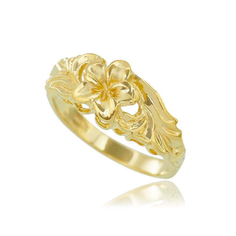 アロハエコル ハワイアンジュエリー プルメリア 14Kリング 女性 レディース 指輪 かわいい プレゼント ギフト 誕生日 記念日 贈り物
