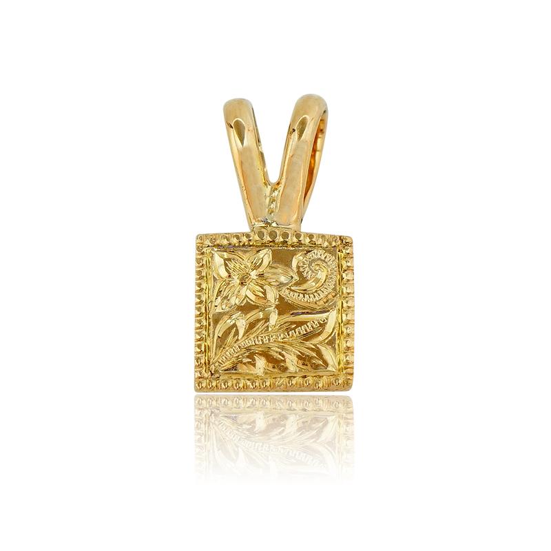 アロハエコル K10手彫りスクエアペンダント イエローゴールド ハワイアンジュエリー 手彫り スクエア スクロース 波 デザイン K10 ペンダント トップ ネックレス メンズ レディース ペア 誕生日 記念日K10手彫りスクエアペンダント(Yellow Gold)