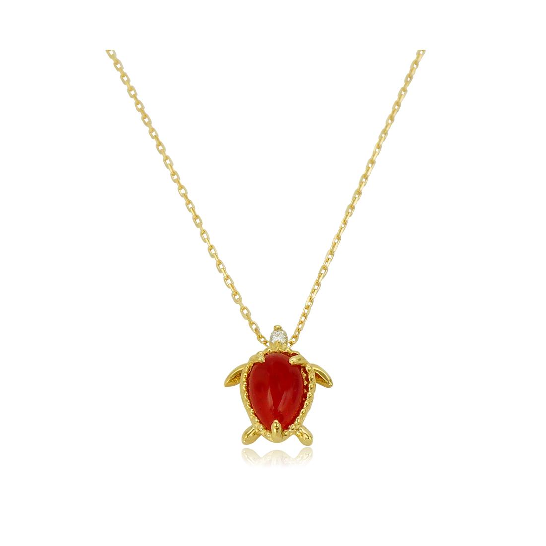 アロハエコル ネックレス K18 赤サンゴ ホヌ イエローゴールド プレゼント ギフト 女性 レディース 贈り物 母の日 ジュエリー