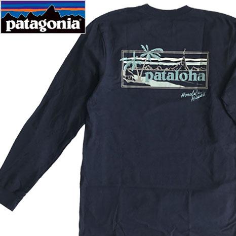 新作からSALEアイテム等お得な商品 満載 送料無料 パタゴニア 捧呈 ハワイ限定 Pataloha PATAGONIA ハワイ パタロハ メンズ Tシャツ ハワイ直輸入 ネイビー オーガニックコットン 長袖 ロングスリーブ