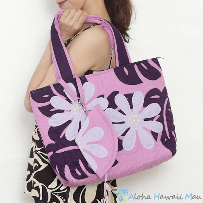ハワイアンキルト トートバッグ パープルパッチワーク 紫 テイアレ モンステラ キルトモチーフ ハワイアン 雑貨