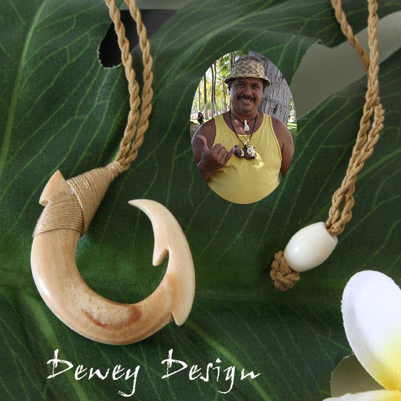 フィッシュフック ハワイアンジュエリーDewey Design 1点モノ★再入荷無し★ハワイの伝統的貴重な素材の骨、ミディアム