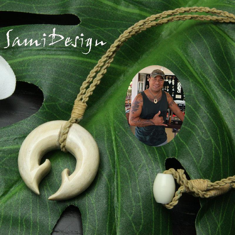 フィッシュフック ハワイアンジュエリーSami Design 1点モノ【再入荷無し】ダブル・フック ハワイの伝統的貴重な素材の骨